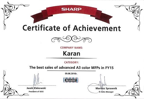 Sharp A3 Renkli MFP'lerde Avrupanın en iyi Distribütörü KARAN